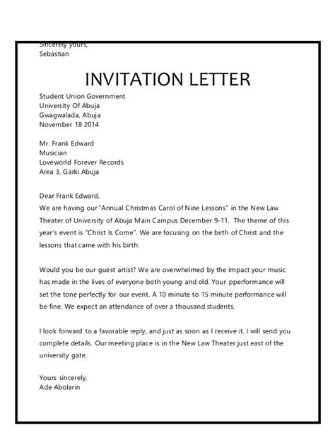 invitation letter yours sincerely choice image invitation letter for xmas carol image collections