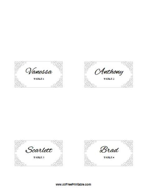 wedding place card template free word 7 best images of printable folded place card template