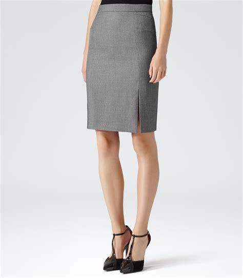 indira grey textured pencil skirt reiss
