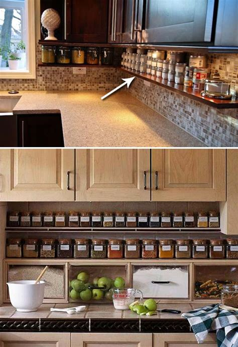 diy kitchen storage ideas top 21 awesome ideas to clutter free kitchen countertops