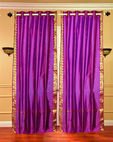 red sheer curtain panels violet red ring top sheer sari curtain drape panel