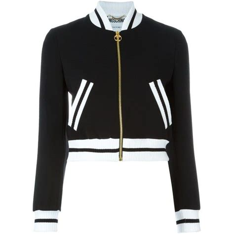 Jaket Bomber Crop Black moschino cropped bomber jacket found on polyvore featuring