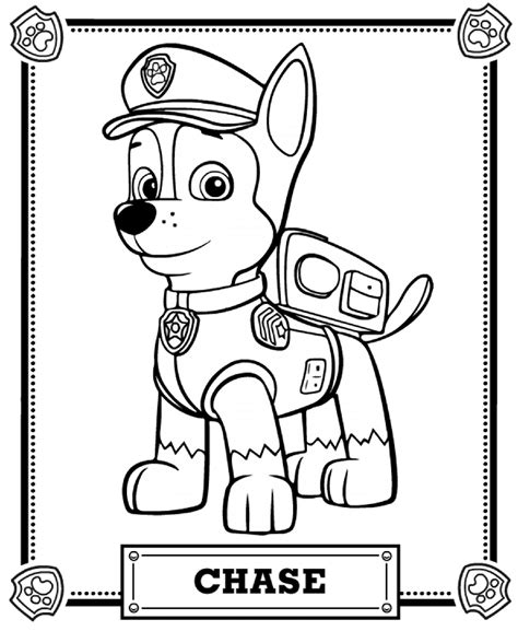 coloring pages for paw patrol chase portrait free coloring page animals kids paw
