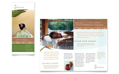 free spa brochure templates health spa brochure template design
