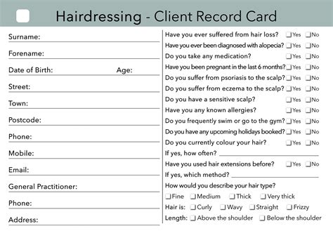 hair stylist client card templates hairdressing client card treatment consultation card