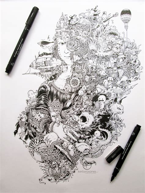 black pen doodles beautifully detailed pen doodles by artist kerby rosanes