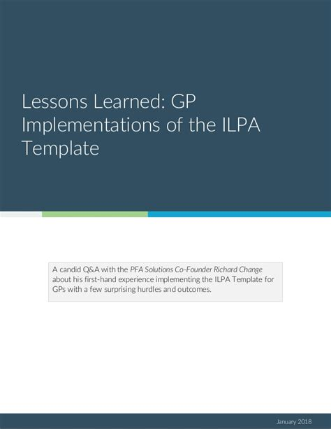 ilpa template lessons learned gp implementation of the ilpa template