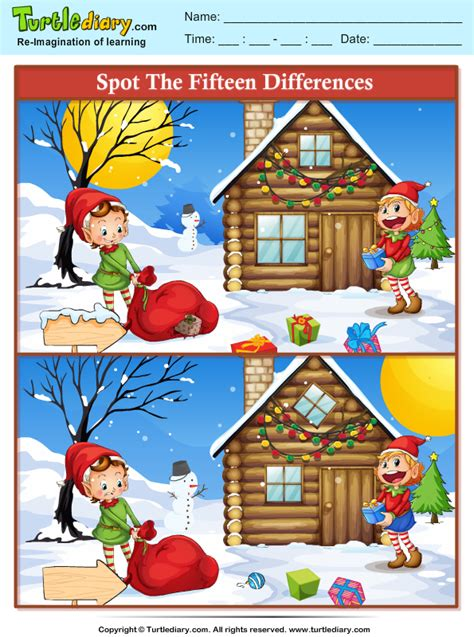 spot  difference elf worksheet turtle diary