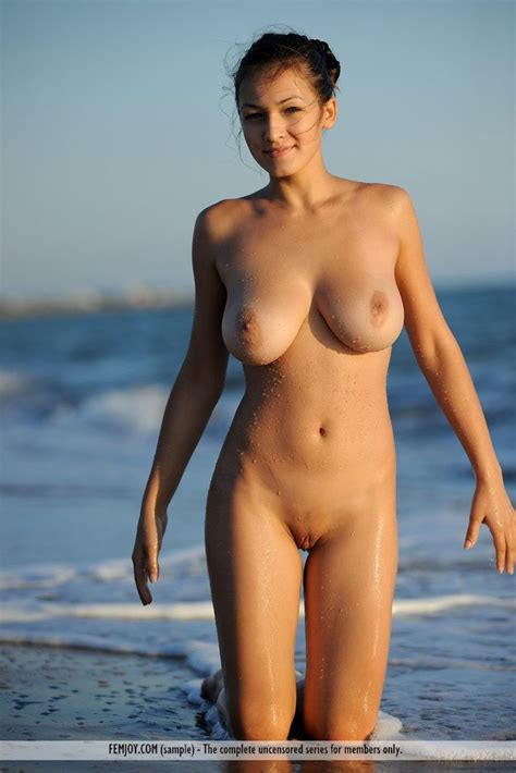 Nude Brunette Model With Busty Boobs At The Beach