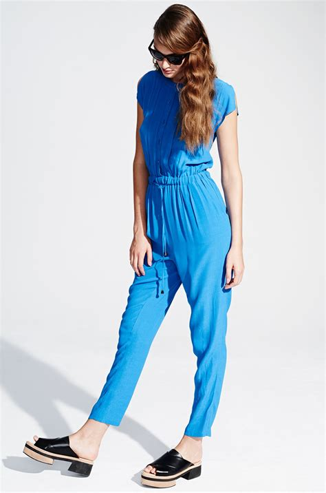 Jumpsuit Blue blue jumpsuit with buttons and gatherings by kala fashion