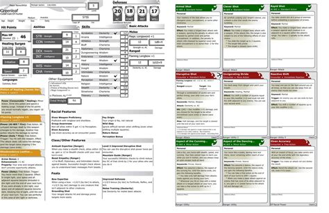 4e Power Cards Template by Homebrew One Page Character Sheet From The