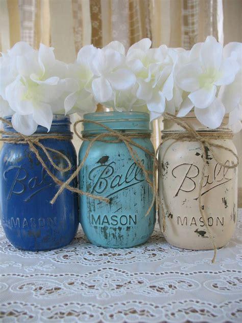 pint mason jars painted mason jars rustic wedding