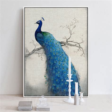 peacock blue home decor canvas art beautiful blue peacock pictures painting