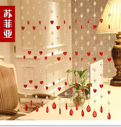 home decor hanging beads 2015 hot sale crystal heart bead curtains for hotel office