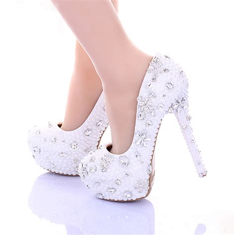 Wedding Shoes 14 14cm high heel white pearl wedding shoes 2015 pumps high heel bridal dress shoes