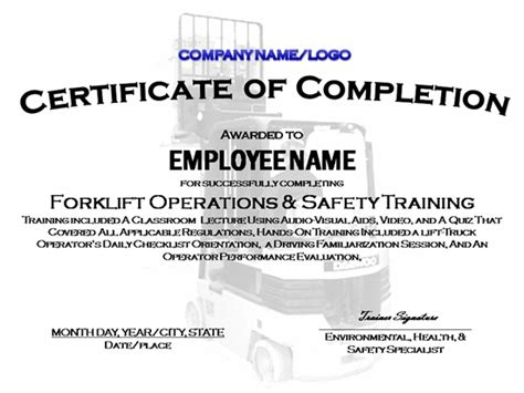 forklift operator certification card template forklift certificate template invitation template