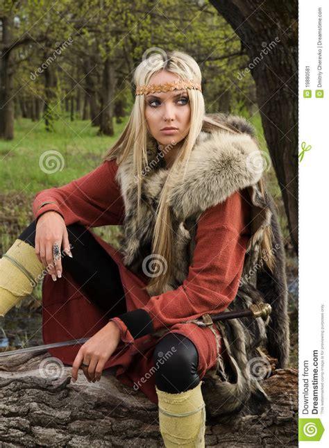 viking girl  sword   wood stock image image