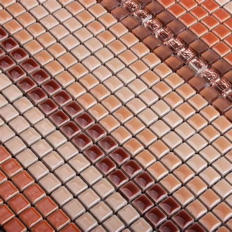 glass mosaic tiles white and orange mixed crystal glass orange red color ceramic mixed crystal mini mosaic tile