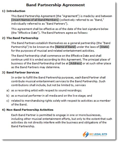 band contract template band partnership agreement contract