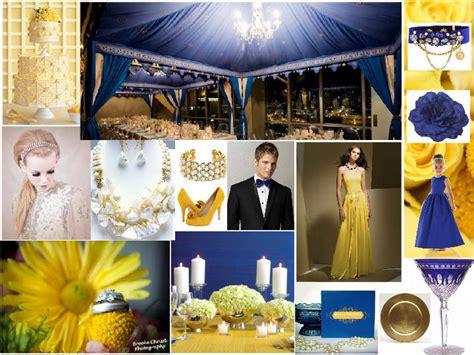 cobalt blue yellow and gold pantone wedding styleboard