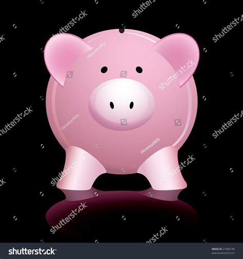 What Do Banks Look For In A Background Check Pink Piggy Bank Reflected On A Shiny Black Background Stock Vector Illustration