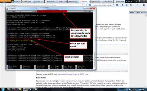 cara membuat email server zimbra cara block email atau domain dari spam pada zimbra