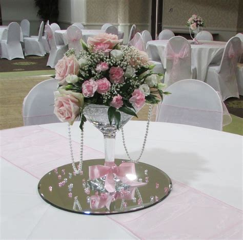 Floral Wedding Centerpieces For Tables Grand Martini Vase With Fresh Flowers In Pinks Ribbon And