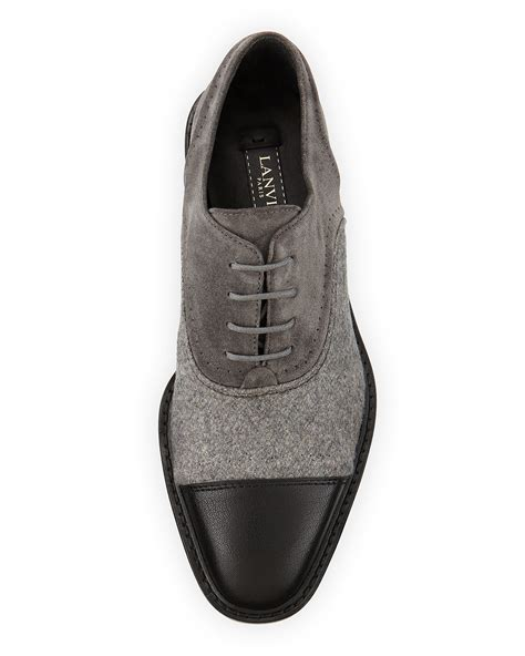 lanvin oxford shoes lanvin leather felt and suede oxford shoes in gray lyst