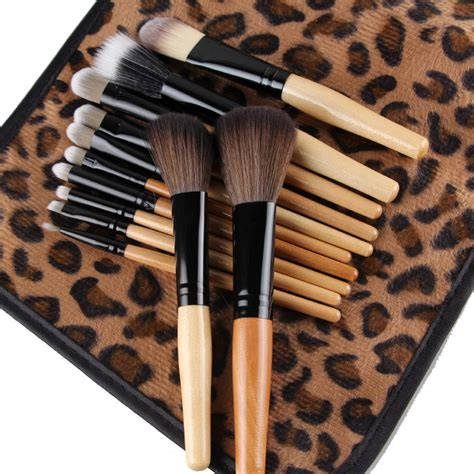 Kuas Makeup Brown cosmetic make up brush 12 set with leopard