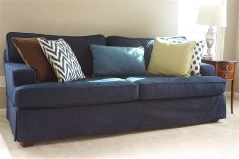 blue jean slipcovers sofa covered in blue denim denim fabrics pinterest