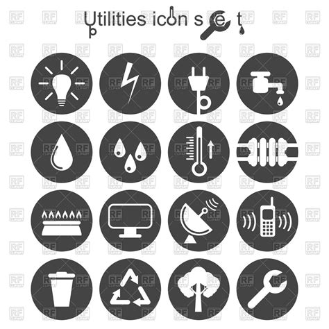 when to set up utilities when buying a house utilities icon set royalty free vector clip art image 86563 rfclipart