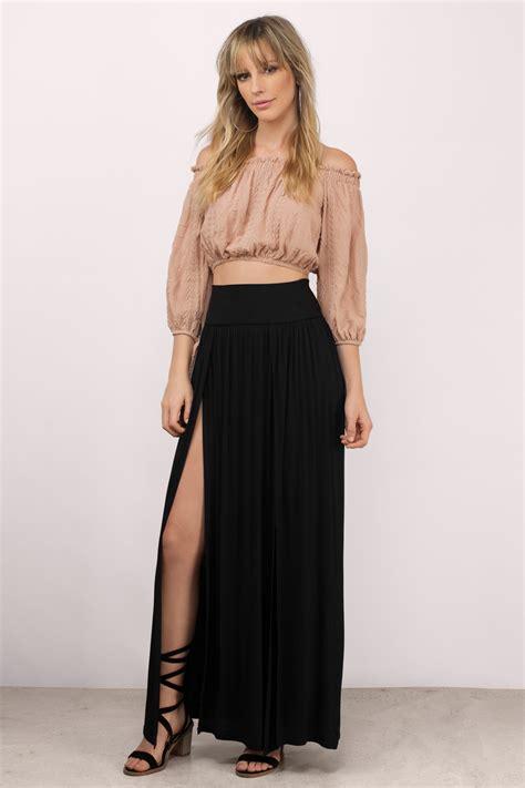 White Black Maxi black maxi skirt with slit fashion skirts