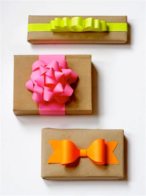 How To Make Paper Bows For Presents - diy neon paper gift bows how about orange
