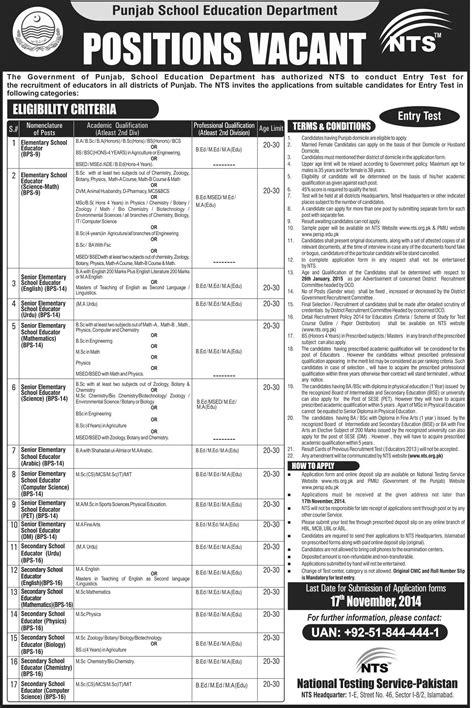 test pattern for educators in punjab district lodhran mandi bahaudin din educators jobs 2016