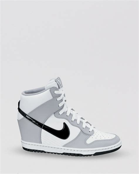 womens black and white sneakers lyst nike lace up high top wedge sneakers s dunk