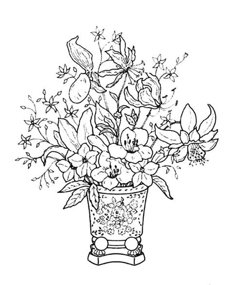 Flowers In Vase Coloring Pages by Flower Bouquet Coloring Pages Coloring Home