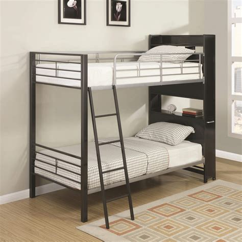 bunks bunk bed with bookshelf headboard and roll out table