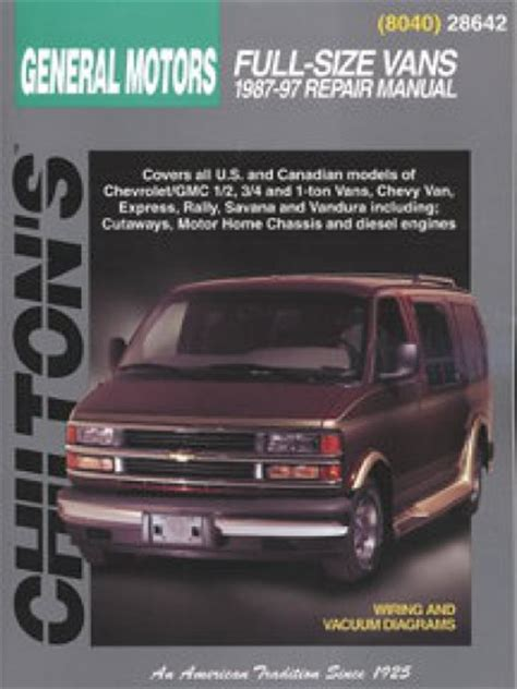 free online auto service manuals 1996 gmc rally wagon g3500 interior lighting chilton general motors full size vans 1987 1997 repair manual