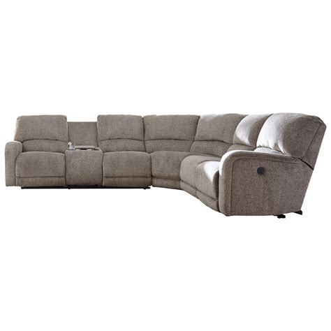 sectional sofa with console signature design by pittsfield power reclining