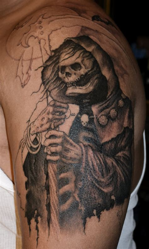 sextant cemetery alchemy tattoo arts reaper graveyard tattoo sleeve