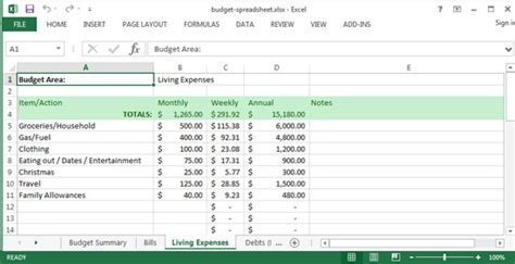Living Budget Template living expenses worksheet virallyapp printables worksheets