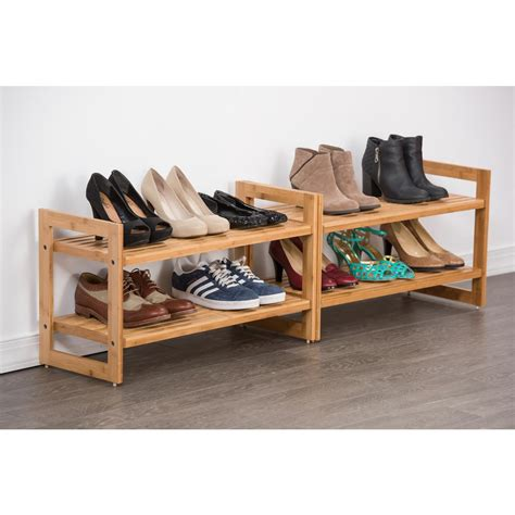 Two Tier Shoe Rack by Stackable 2 Tier Bamboo Shoe Rack 2 Pack Tbf