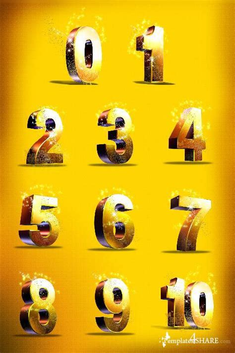 photoshop template numbers golden numbers psd template 187 templates4share com free