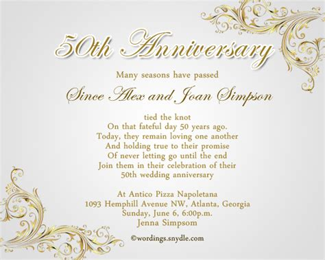 wedding anniversary invitation templates 50th wedding anniversary invitation wording