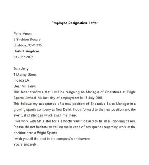 Employment Exit Letter 31 resignation letter template word pdf ipages free