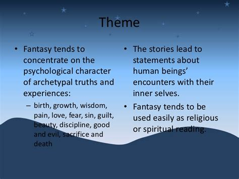 themes and conventions in stories themes and conventions in stories elements of fantasy