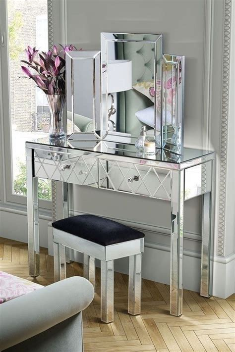 Glass Table Ls For Bedroom by Mirrored Console Table Bedroom Accent Entry Way Glass