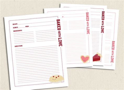 printable recipe pages baked with love full size printable recipe pages
