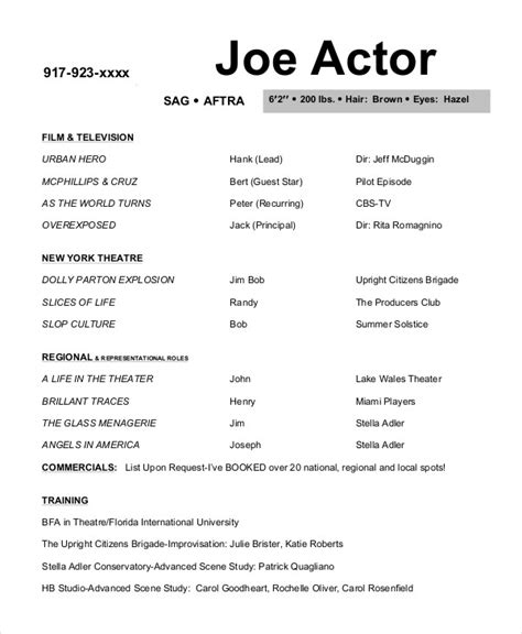 Resume For Actors by 10 Actor Resume Exles Pdf Doc Free Premium