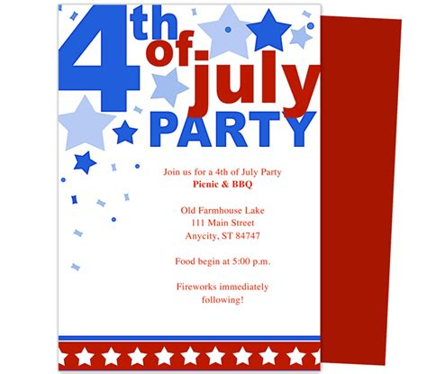 6 best images of 4th of july invitations templates